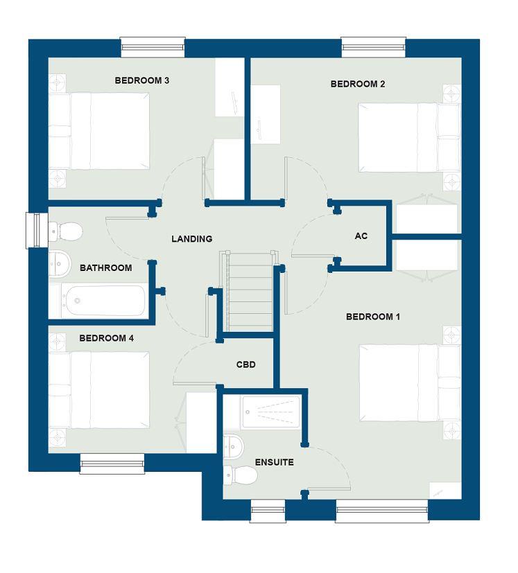 First Floor - The Luxon (Cupboard plcement bed 4 & bath window)